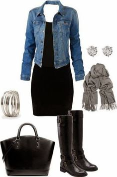 Women's Fashionista: black dress jean jacket
