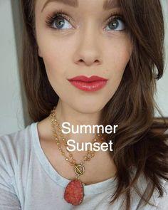 Summer Sunset LipSense topped with Glossy Gloss | Senegence International long-lasting Lip color, ShadowSense eyeshadow, MakeSense foundation, BrowSense, BlushSense and MORE!