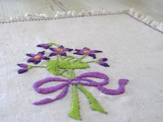 Embroidery pattern - Bouquet of violets .Printed on linen fabric in a traditional technique, via Etsy.