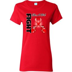 Blood Cancer Fight Like a Girl Women's T-Shirt featuring boxing gloves shaped into an awareness ribbon #fightlikeagirl #fightlikeagirlshirts #bloodcancerawareness