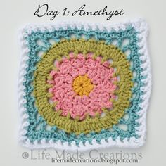 Day 1: Amethyst block free crochet pattern on Life Made Creations at http://lifemadecreations.blogspot.com/2011/05/square-day-1-and-2.html