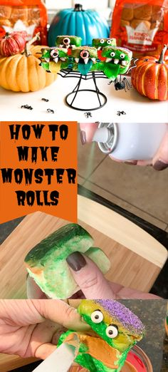 Make spooky sandwhiches using cake spray and googley eyes and fruit roll ups. Fruit Roll Ups, How To Make Diy, Party Favors, Rolls, Eyes, Halloween, Cake, Sweet, Food