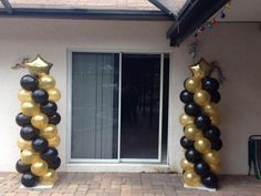black and gold balloon columns - Google Search