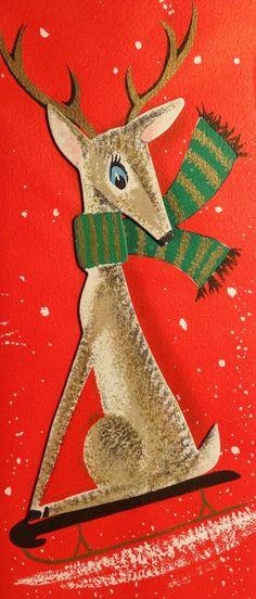 Vintage Christmas card mod Reindeer on sled