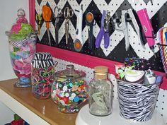 Zebra, Chevron, Black, White U0026 Pink Peg Board, Laminate Entertainment  Center Upcycle, Large Worktable, Organization U0026 Storage Ideas, Cone Thread  Storage, ...