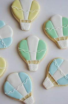 Balloon Cookies Iced Cookies, Cute Cookies, Easter Cookies, Royal Icing Cookies, Sugar Cookies, Hot Air Balloon Cookies, Balloon Cake, Balloon Party, Party Like Gatsby