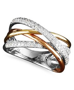 Trio by EFFY Diamond Crossover Ring (3/8 ct. t.w.) in 14k White Gold and Rose Gold