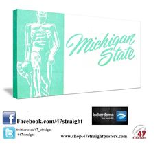 Michigan State Spartans Father's Day Gifts. Father's Day Gifts for Michigan State fans from 47 STRAIGHT.™ College football art. Michigan State game room art. #47straight