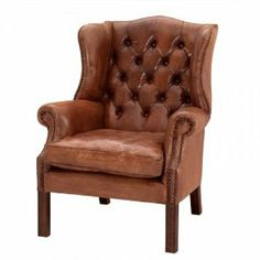 Luxury leather wing chairs Chesterfield Vintage Brown Chair with genuine leather  £2,590  http://amzn.to/1geWTNS