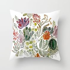 Succulents Throw Pillow by Hannah Margaret Illustrations. Worldwide shipping available at Society6.com. Just one of millions of high quality products available.
