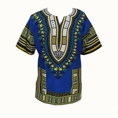 African Traditional Print 100% Cotton Dashiki T-shirt for unisex (MADE IN THAILAND)