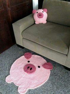 Pig Pillow and Pig Rug / Etsy Crochet Pig, Crochet Home, This Little Piggy, Little Pigs, Pig Crafts, Teacup Pigs, Piggly Wiggly, Mini Pig, Cute Piggies