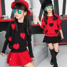 2015 novo estilo de outono grandes crianças meninas conjuntos de roupas ( blusas + saias ) corações bonitos bordado roupas para idade 3 - 12 anos(China (Mainland))