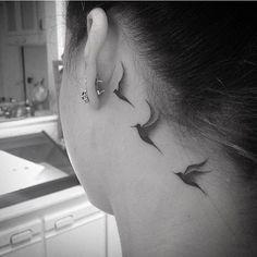 Animal, minimalist, neck tattoo on TattooChief.com