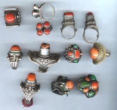 Group of Rings and Hair Rings from Tibet, Mongolia, N. Pakistan and Caucasia | Himalayan and Mongolian rings except lower row middle, is Caucasian from Dhaghestan and first row pair are from Pakistan | ©Linda Pastorino