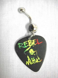NEW RASTA BOB MARLEY REBEL MUSIC PHOTO GUITAR PICK BLACK CZ BELLY BUTTON RING   eBay