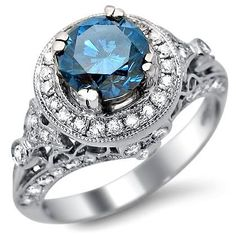 1.78ct Blue Round Diamond Engagement Ring 14k White Gold Vintage:Amazon:Jewelry
