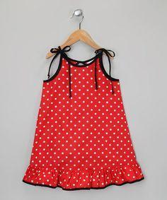 De n' L Red & White Polka Dot Ruffle Dress - Infant, Toddler & Girls Newborn Girl Dresses, Toddler Girl Dresses, Little Girl Dresses, Baby Dress, Girls Dresses, Toddler Girls, Ruffle Dress, Kids Frocks, Frock Design