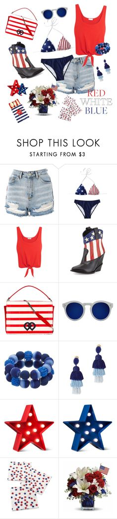 """4th of July"" by ravenclaw-phoenix ❤ liked on Polyvore featuring Topshop, Splendid, Giuseppe Zanotti, Dsquared2, Illesteva, Oscar de la Renta, POPTIMISM! and Crate and Barrel"