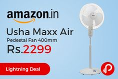 Amazon #LightningDeal is offering 13% off on Usha Maxx Air Pedestal Fan 400mm at Rs.2299 Only. Pedestal fan with high air delivery, Aerodynamically designed semi transparent PP blades, Unique oil reservoir lubrication for better reliability and longer life, Jerk-free and uniform oscillation, 2 year on product Warranty.  http://www.paisebachaoindia.com/usha-maxx-air-pedestal-fan-400mm-at-rs-2299-only-amazon/