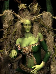 Leprechaun makeup & wardrobe. Leprechauns and fairies are all the same in addition this beautiful 'Forest Queen' has a greenish aura. Art by *Erulian on deviantART. Reminds me a bit of MARIE LAVEAU with her snake ZOMBIE.