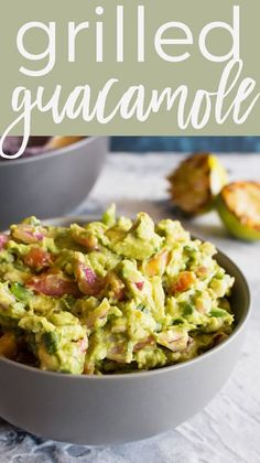 grilled guacamole recipe is going to be your new favorite summer dip. Grilling all of the vegetables gives the guacamole a smoky and unforgettable taste. Chef Recipes, Quick Recipes, Appetizer Recipes, Simple Appetizers, Delicious Recipes, Yummy Food, Grill Recipes, Dip Recipes, Amazing Recipes