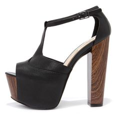 Jessica Simpson Dany Black Tumbled Alaska Leather Platform Heels ($87) ❤ liked on Polyvore