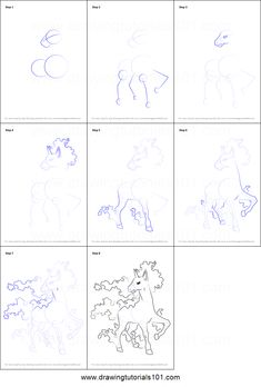 How to Draw Rapidash from Pokemon Printable Drawing Sheet by DrawingTutorials101.com