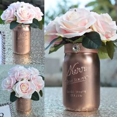 Mason Jar Wedding Centerpiece. Rose Gold by KimeeKouture on Etsy