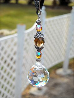 Car SunCatcher Crystal Prism Car Charm Feng Shui by JasGlassArt, $12.95