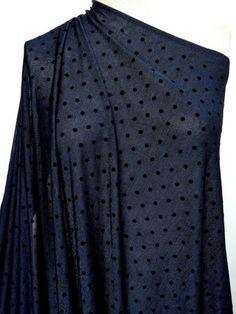 """Marcy Tilton - Knit Fabrics - Octavia Blue Dots Knit Poly/Lycra  60""""  $16"""