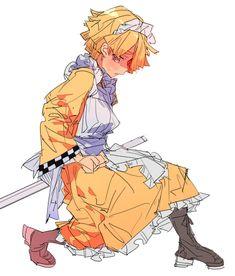 Kimetsu no Yaiba Agatsuma Zenitsu Anime Angel, Anime Demon, Manga Anime, Demon Slayer, Slayer Anime, Anime Maid, Aizawa Shouta, Matou, Maid Outfit