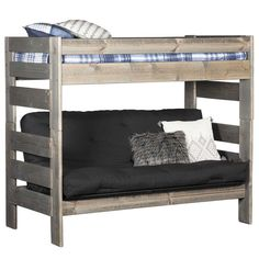 The Cheyenne Driftwood Full Over Full Futon Bunk Bed by Trendwood is a stylish and practical addition to your bedroom. The simple styling pairs with a contemporary gray driftwood finish for a versatile look, while the solid ladder on either end of the bunk provides easy access to the top bed. A futon on the bottom bunk does double duty as either a couch or a bed. #KidsRoom #KidsBedroom #KidsRoomIdeas #SmallSpaces #CollegeEssentials #DormRoomDecor