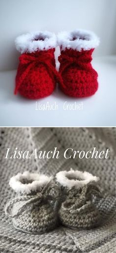 Simple And Beautiful Crochet Baby Booties - Pattern Center Free Crochet Bootie Patterns, Loom Knitting Patterns, Christmas Crochet Patterns, Knitting Ideas, Crochet Baby Sandals, Crochet Baby Clothes, Knitted Booties, Baby Booties, Baby Shoes