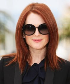 Red Long Straight Hairstyles 2015 with Elegant Round Sunglasses #Medium to Long Hairstyles for older women #women over 30, over 40