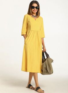 9ab98e0e3cfc Cotton Solid Sleeves Midi A-line Dress - Floryday
