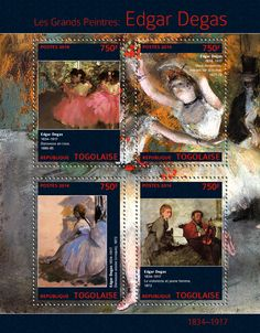 "TG 14307 a	Edgar Degas (""Dancers in Pink"" 1880-1885, ""Two Dancers Coming on Stage"" 1877-1878, ""Sitting Dancer"" 1872, ""Violinist and Young Woman"" 1872) Edgar Degas, Degas Dancers, Stamps, Books, Painting, Art, Seals, Art Background, Libros"