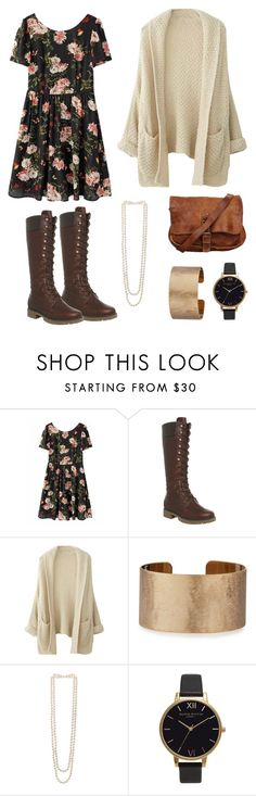 """Floral t-shirt dress with brown leather lace up boots"" by genevamq on Polyvore featuring Timberland, Panacea, Kenneth Jay Lane and Olivia Burton"