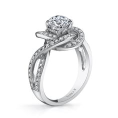 """VannaK.com  Declare your love with this """"Lovers Knot"""" ring! Diamond: Round .83 Carat (not included 1 Carat center stone)  The Solea bridal collection, using the micro-pave technique, represents unsurpassed quality, refinement & detail, ensuring the greatest token of love and commitment."""