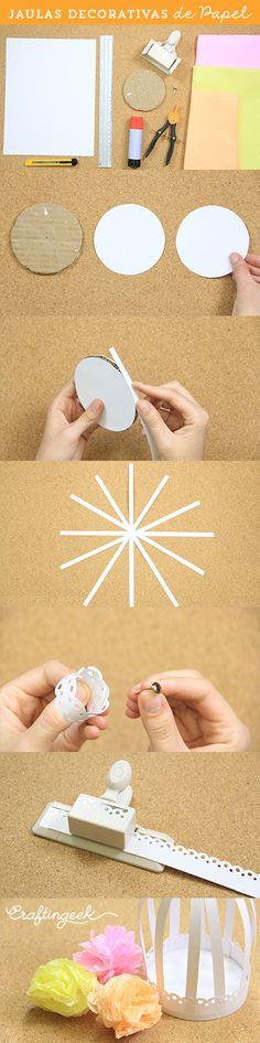 Jaulitas de papel muy sencillas que puedes hacer para decorar tu espacio #jaulas #papel #tutorial
