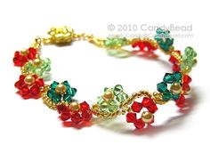Poinsettia Swarovski Crystal Bracelet with Gold Flower Magnetic Clasp by CandyBead via Etsy