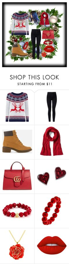 """A Very Marry Christmas"" by alexis-kitten on Polyvore featuring Mela Loves London, J Brand, Timberland, Gucci, Bourbon and Boweties and Lime Crime"