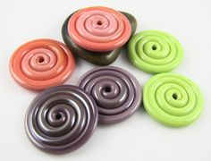 Coral Pea Green Purple Lampwork Glass Disc BeadsSet by AlishaWhite