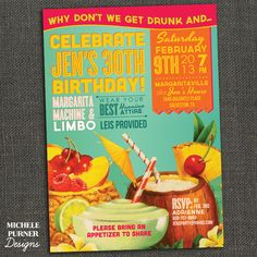 Tropical Birthday Invitation - Jimmy Buffett - Hawaiian Shirt -  Printable. $17.00, via Etsy.