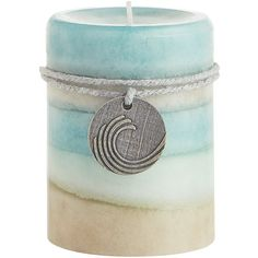 Pier 1 Imports Sea Air Layered 3x4 Pillar Candle ($11) ❤ liked on Polyvore featuring home, home decor, candles & candleholders, ocean home decor, pier 1 imports, gardenia candles, jasmine candle and sea home decor