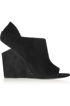 Minimal and Classic Style // Alexander Wang Alla cutout-heel suede wedge ankle boots | NET-A-PORTER