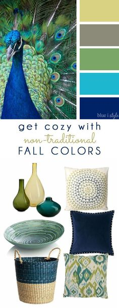 COZY FALL COLORS! A simple mood board to help you bring the colors of peacock feathers into your fall home decor.