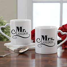 I WANT THESE!!!! Cute Mr. & Mrs. personalized coffee mug set! Great wedding gift idea too! #MrandMrs #wedding #PMallGifts