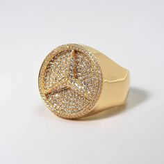 14kt Solid Diamond Benz Ring custom made to order.   All custom inquiries email us at info@IFANDCO.com.  #Benz #CustomJewelry #IFANDCO