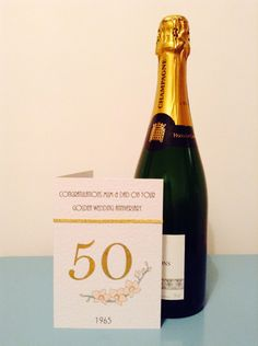 Make it personal. 50th Wedding Anniversary, Champagne, Greeting Cards, Bottle, Drinks, How To Make, Fun, Drinking, Beverages
